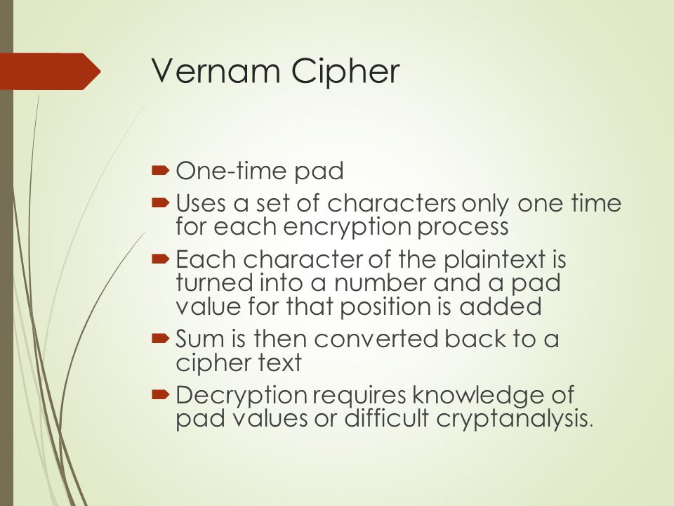 Vernam Cipher One-time pad