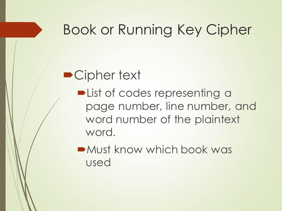 Book or Running Key Cipher