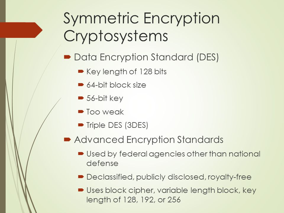 Symmetric Encryption Cryptosystems