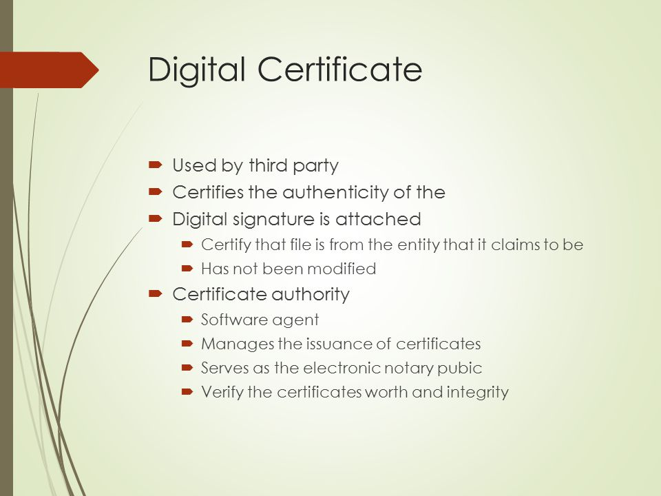 Digital Certificate Used by third party