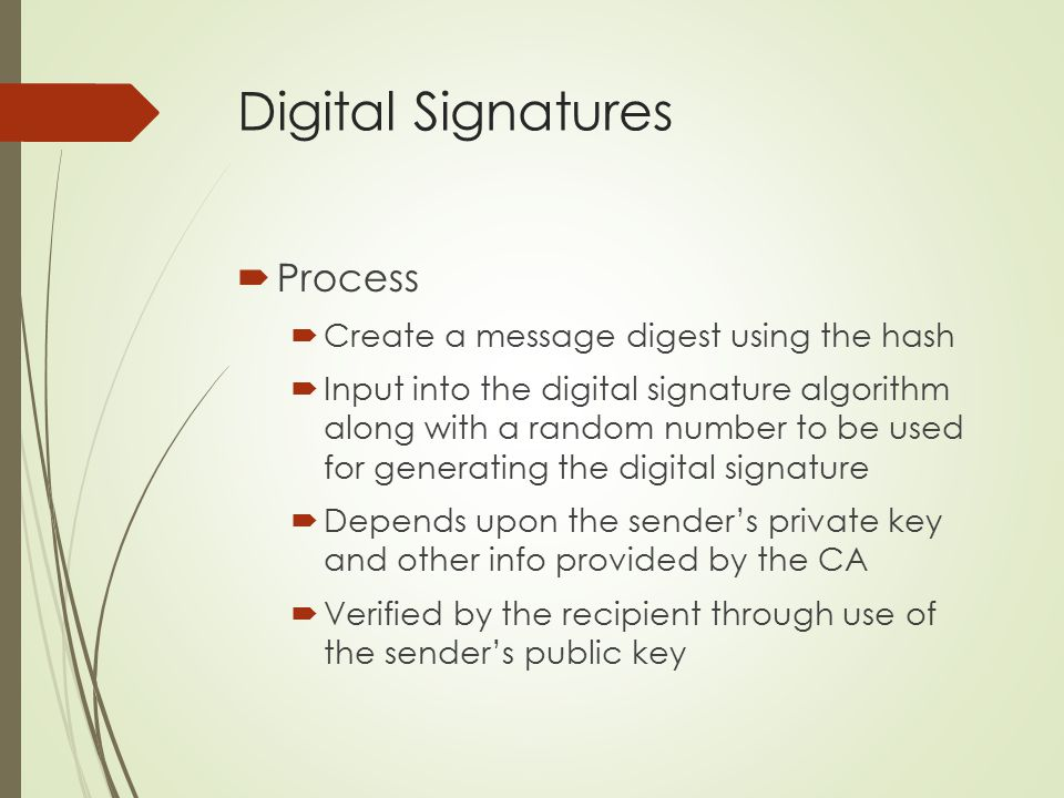 Digital Signatures Process Create a message digest using the hash