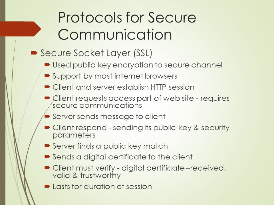 Protocols for Secure Communication