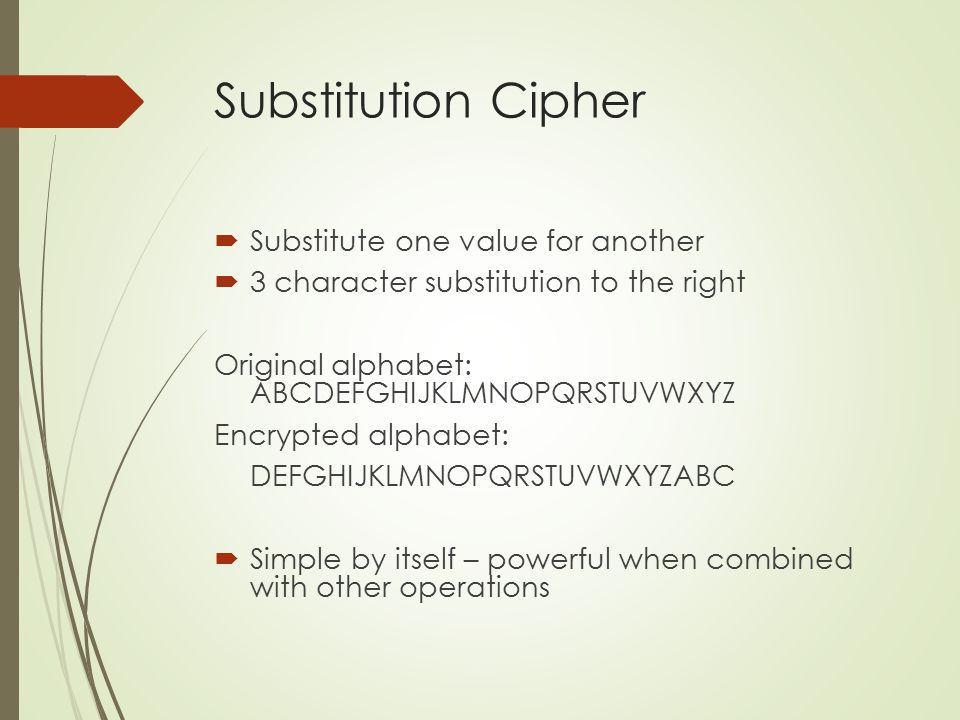 Substitution Cipher Substitute one value for another