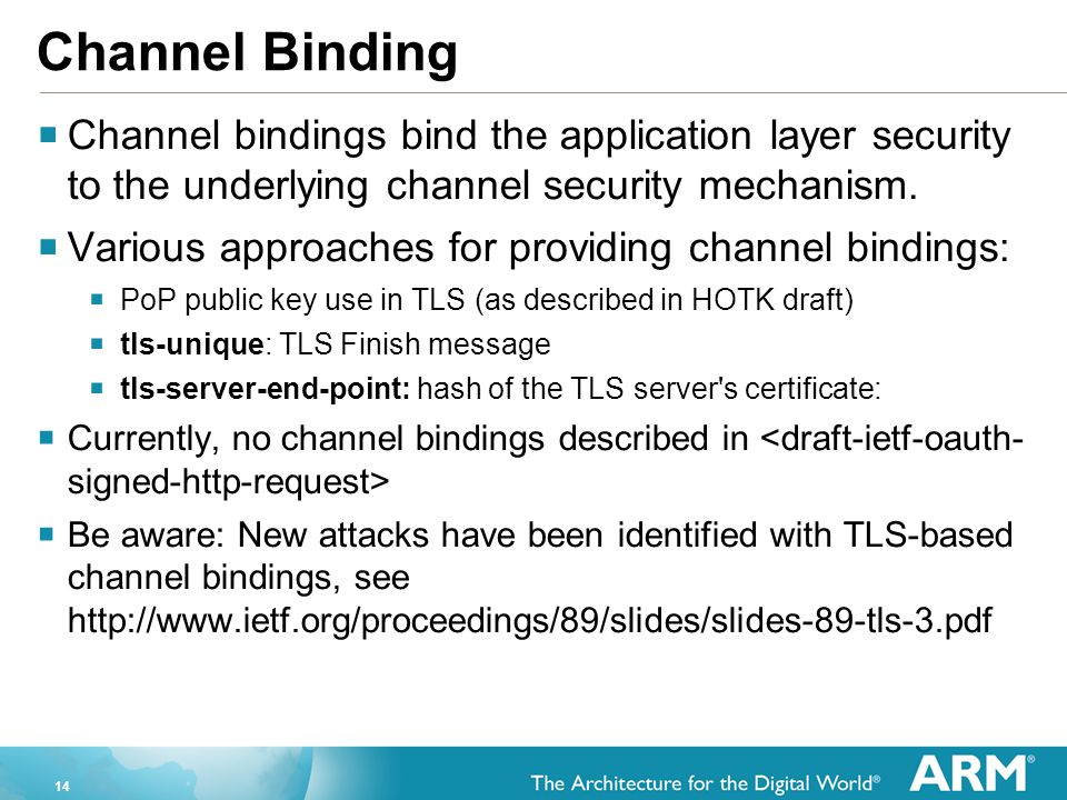 Channel Binding Channel bindings bind the application layer security to the underlying channel security mechanism.