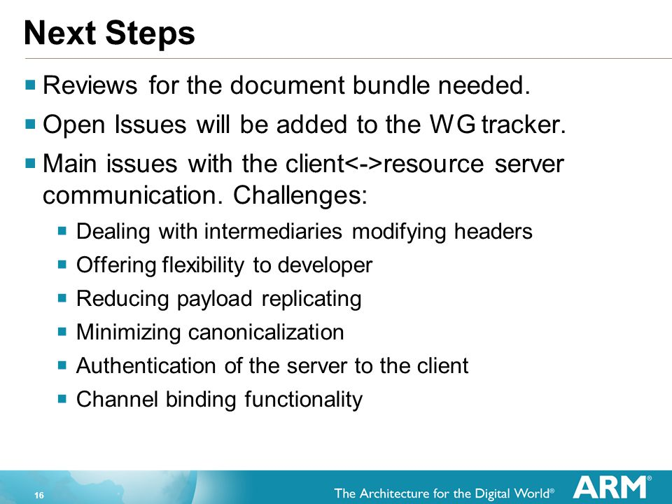 Next Steps Reviews for the document bundle needed.