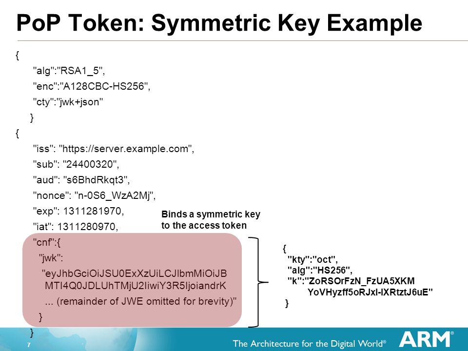 PoP Token: Symmetric Key Example