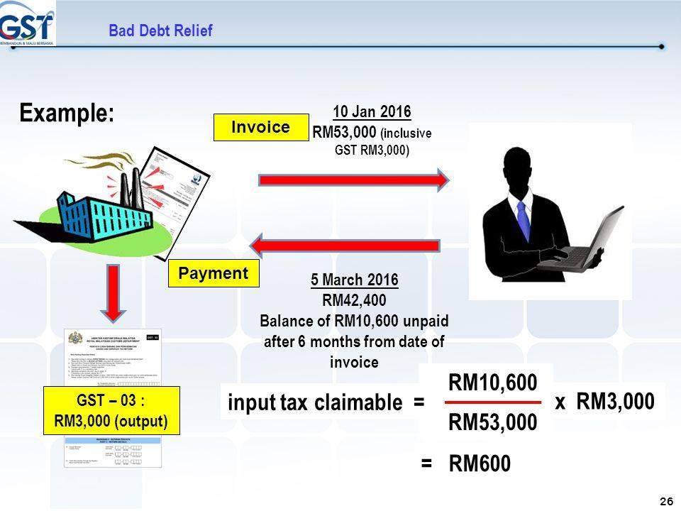 10 Jan 2016 RM53,000 (inclusive GST RM3,000)