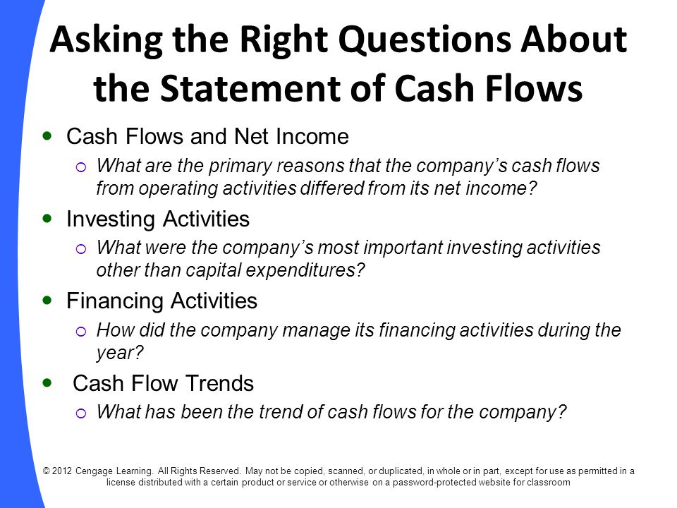 Asking the Right Questions About the Statement of Cash Flows