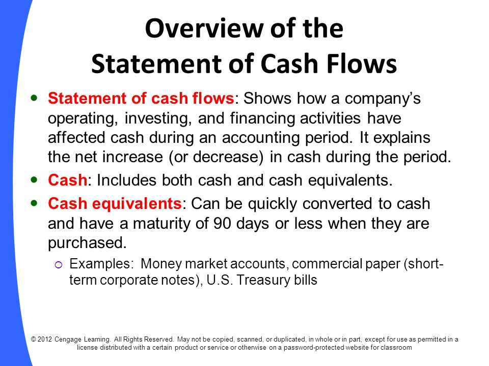 Overview of the Statement of Cash Flows