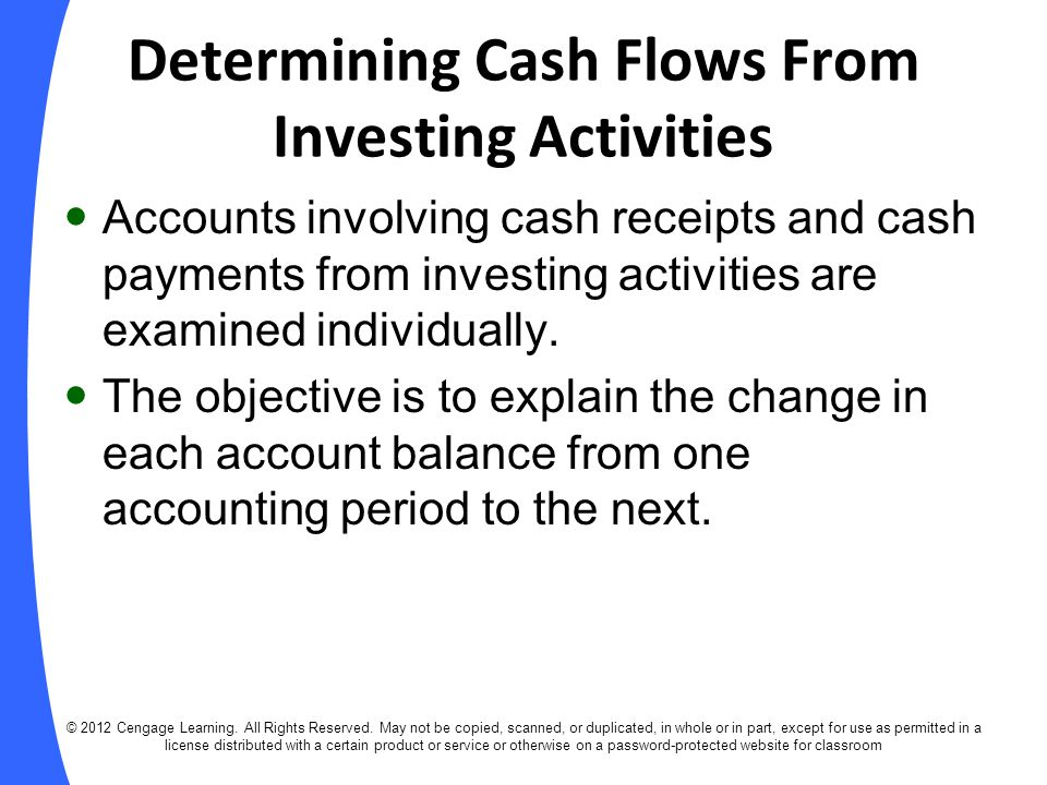 Determining Cash Flows From Investing Activities