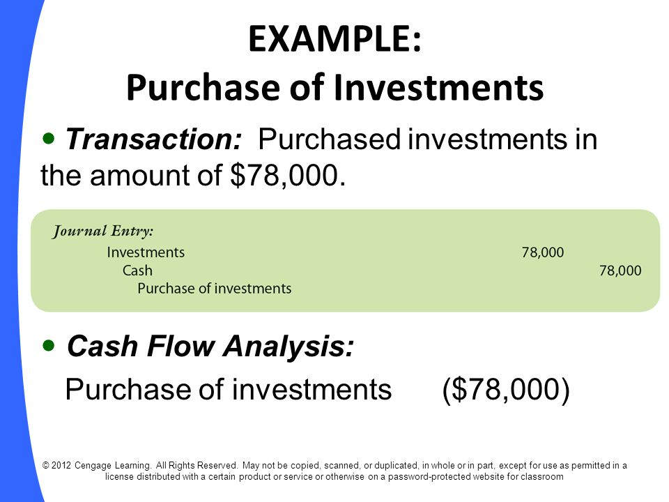 EXAMPLE: Purchase of Investments