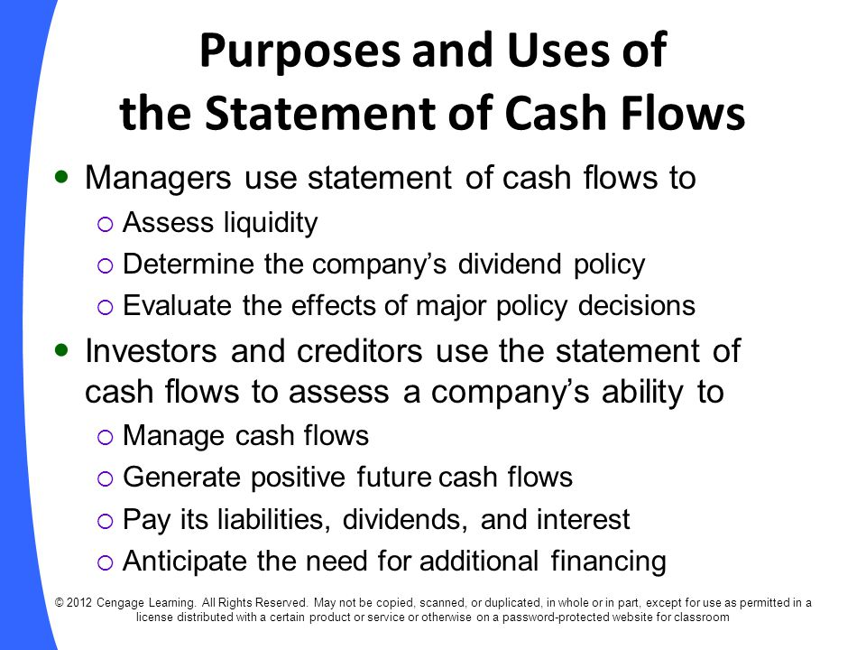 Purposes and Uses of the Statement of Cash Flows