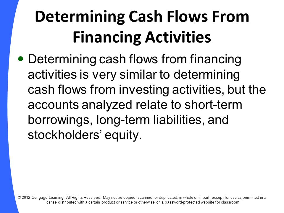 Determining Cash Flows From Financing Activities