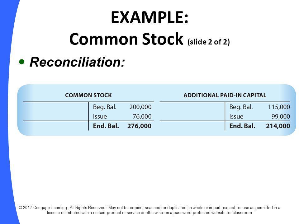 EXAMPLE: Common Stock (slide 2 of 2)