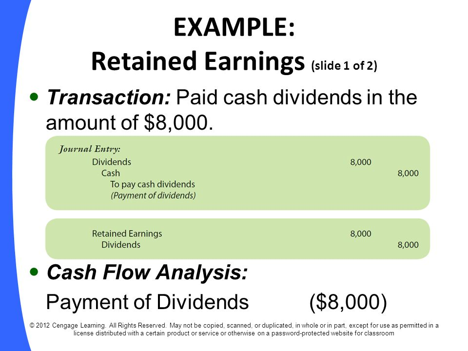 EXAMPLE: Retained Earnings (slide 1 of 2)