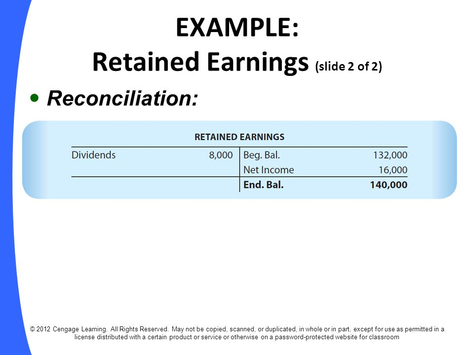EXAMPLE: Retained Earnings (slide 2 of 2)
