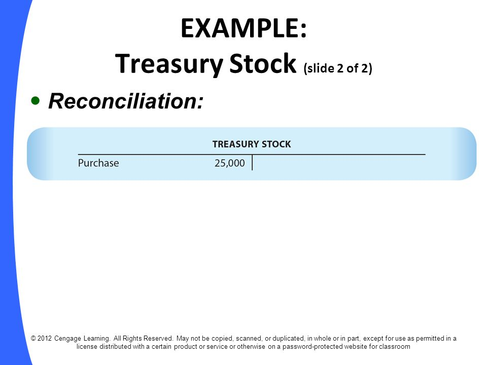 EXAMPLE: Treasury Stock (slide 2 of 2)