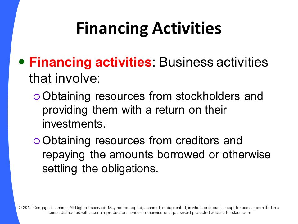 Financing Activities Financing activities: Business activities that involve: