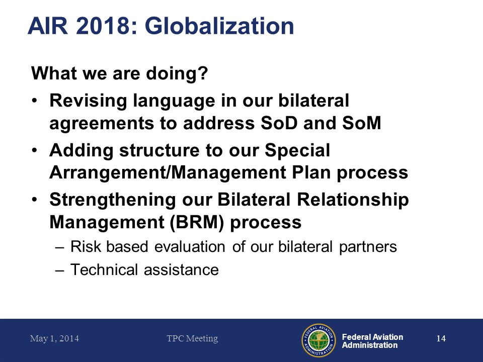 AIR 2018: Globalization What we are doing