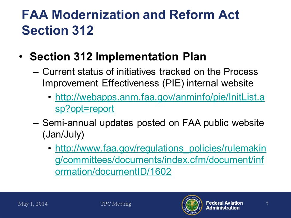 FAA Modernization and Reform Act Section 312