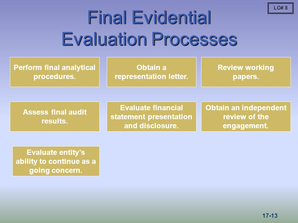Final Evidential Evaluation Processes