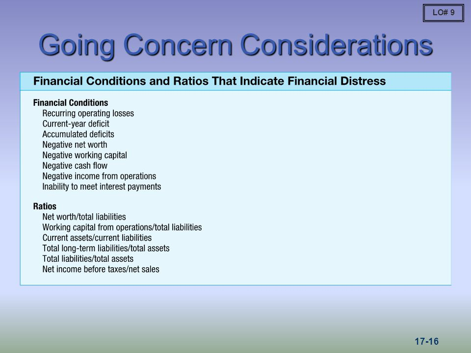 Going Concern Considerations
