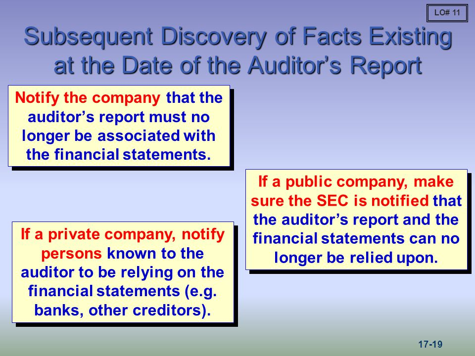 LO# 11 Subsequent Discovery of Facts Existing at the Date of the Auditor's Report.