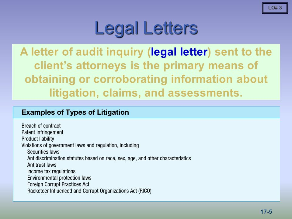 LO# 3 Legal Letters.