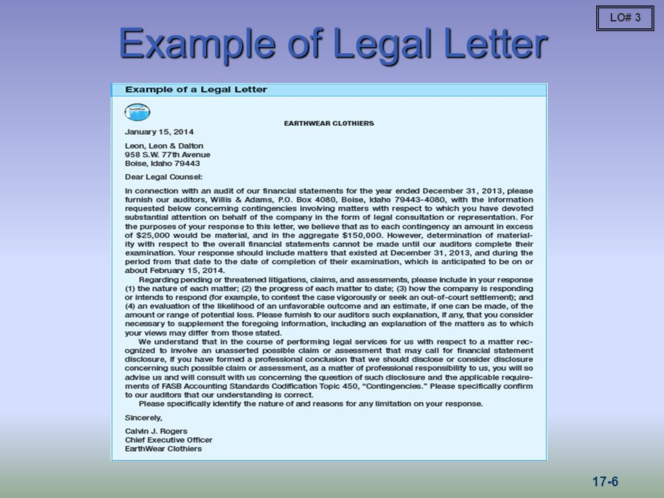 Example of Legal Letter