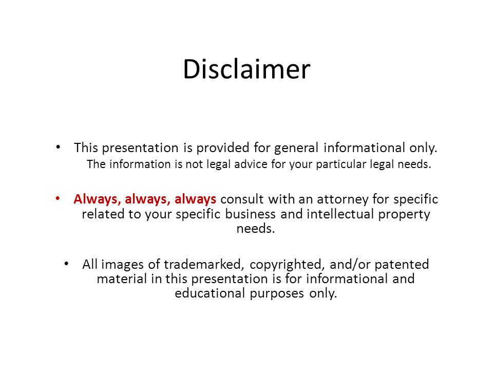 Patent law under the america invents act ppt video for Legal advice disclaimer template