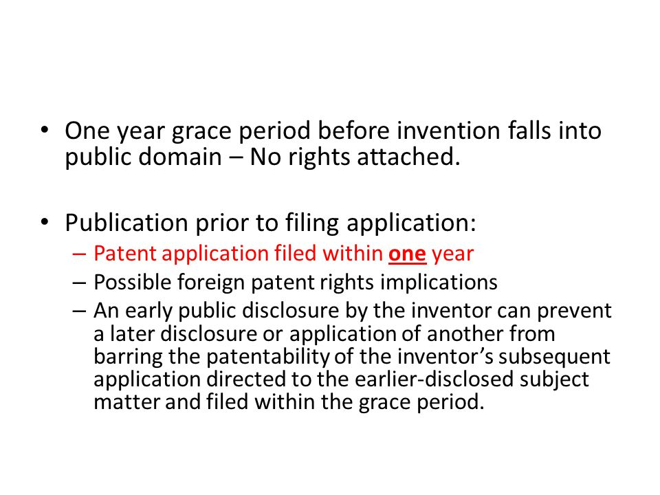 Publication prior to filing application: