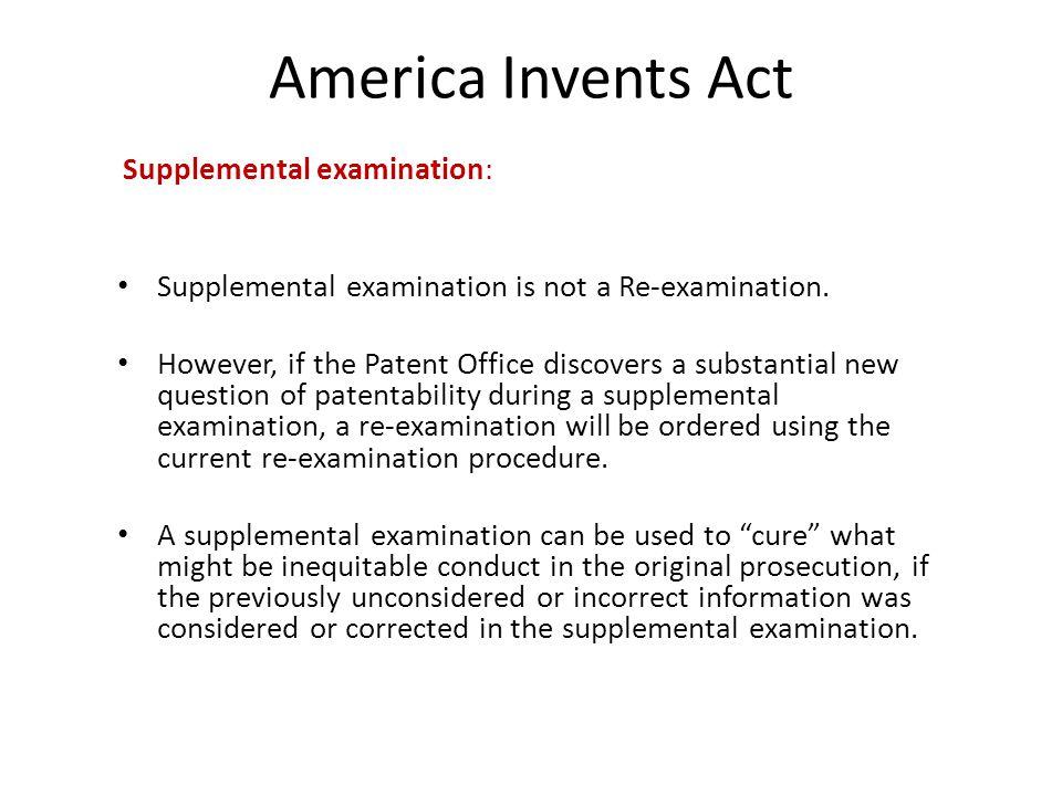 America Invents Act Supplemental examination: