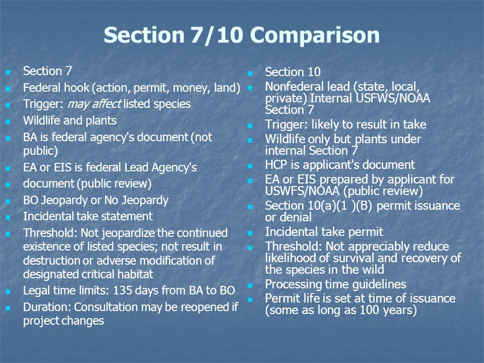 Section 7/10 Comparison Section 7 Section 10