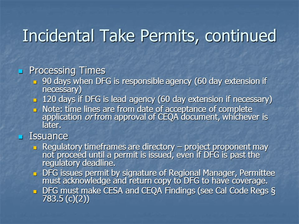 Incidental Take Permits, continued