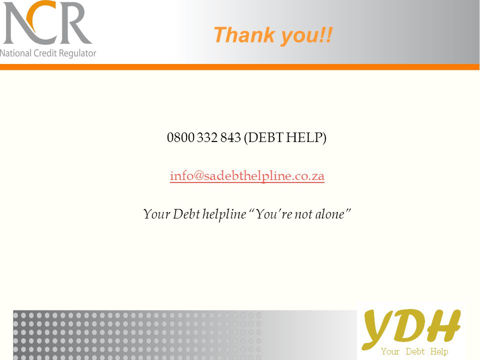 Your Debt helpline You're not alone