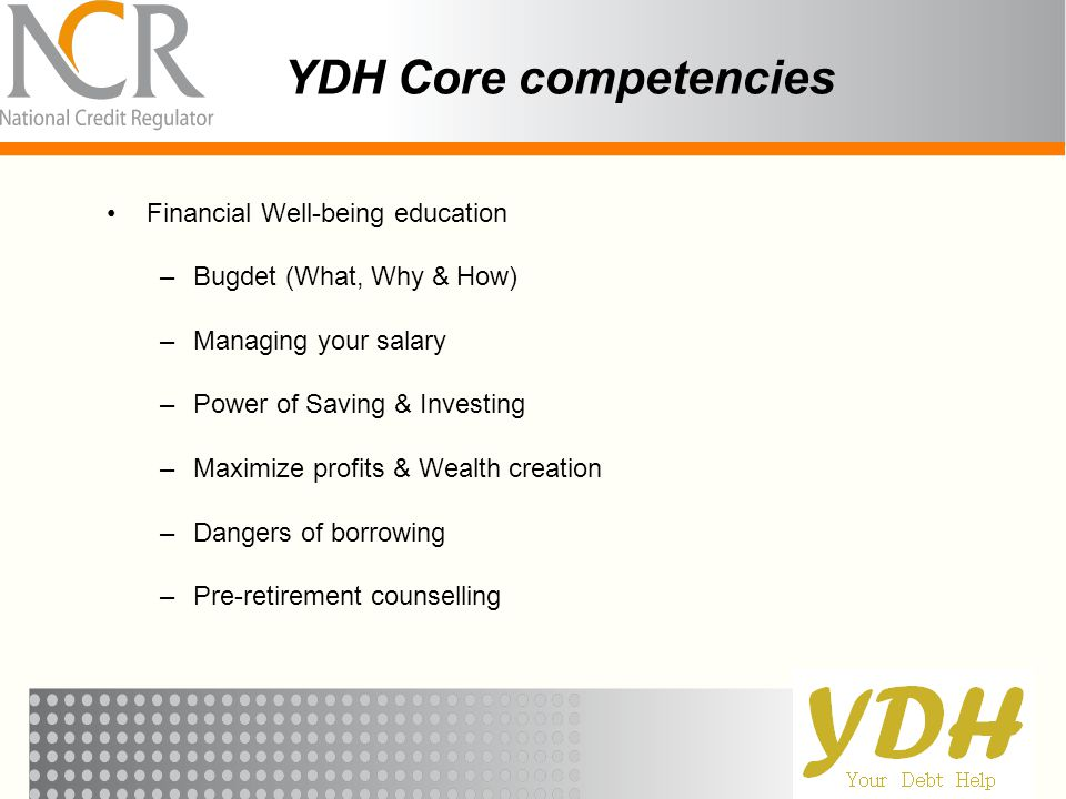 YDH Core competencies Financial Well-being education