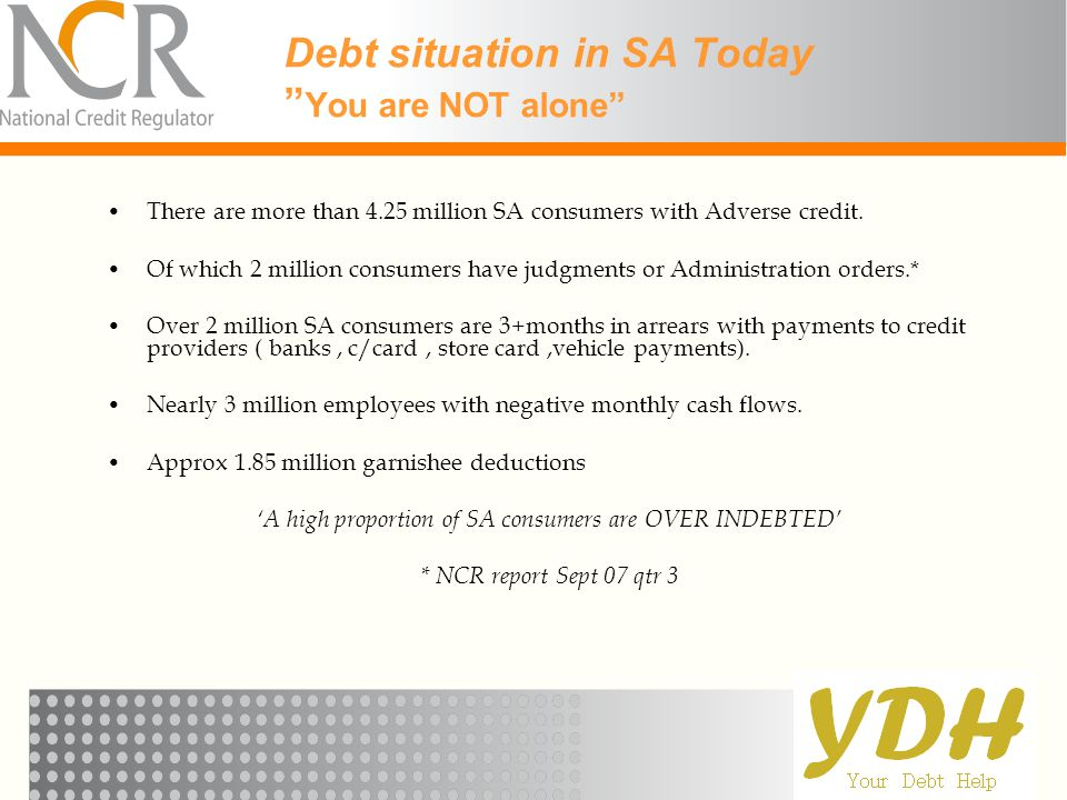Debt situation in SA Today You are NOT alone