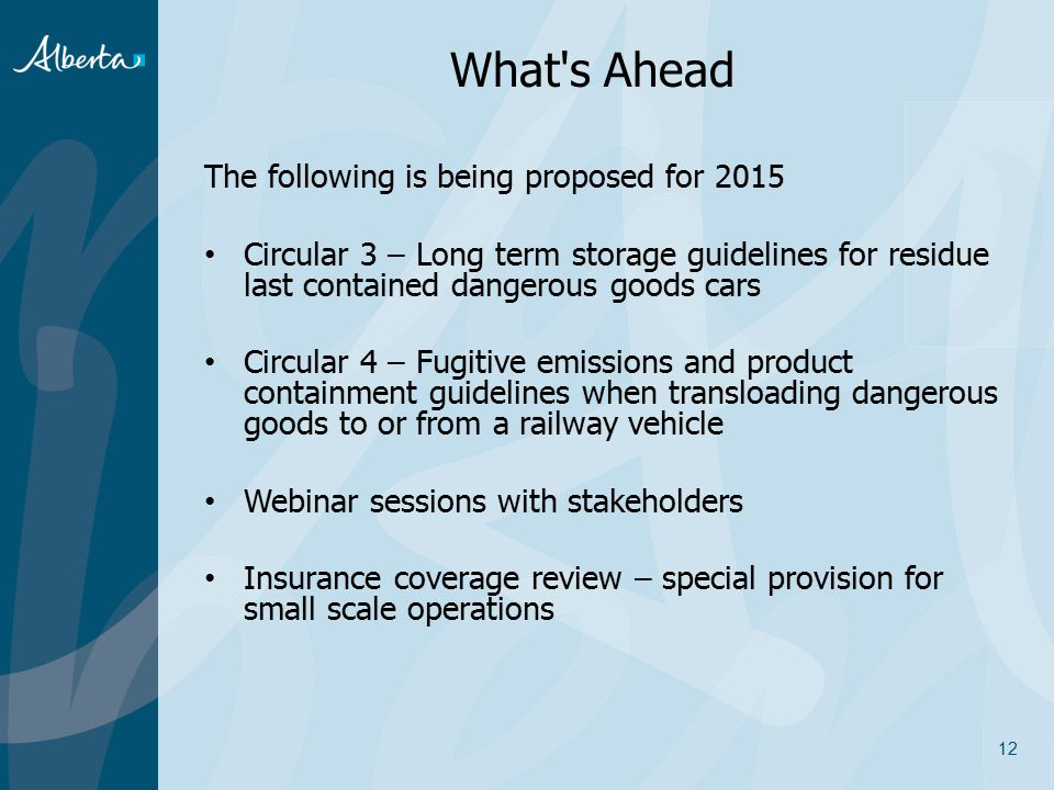 What s Ahead The following is being proposed for 2015