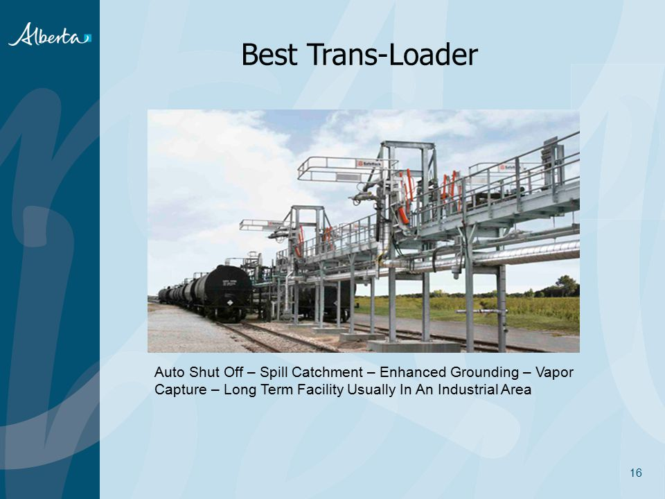 Best Trans-Loader Auto Shut Off – Spill Catchment – Enhanced Grounding – Vapor Capture – Long Term Facility Usually In An Industrial Area.