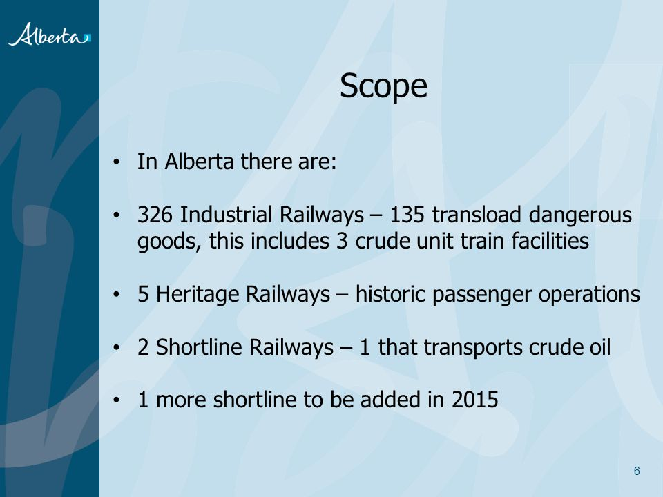 Scope In Alberta there are: