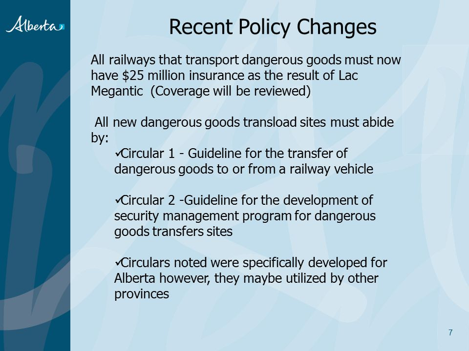 Recent Policy Changes