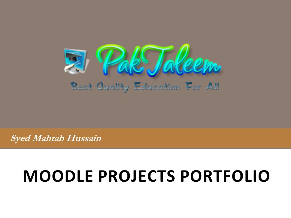 Moodle Projects portfolio