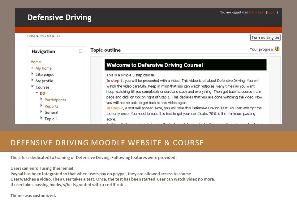 Defensive Driving Moodle Website & Course