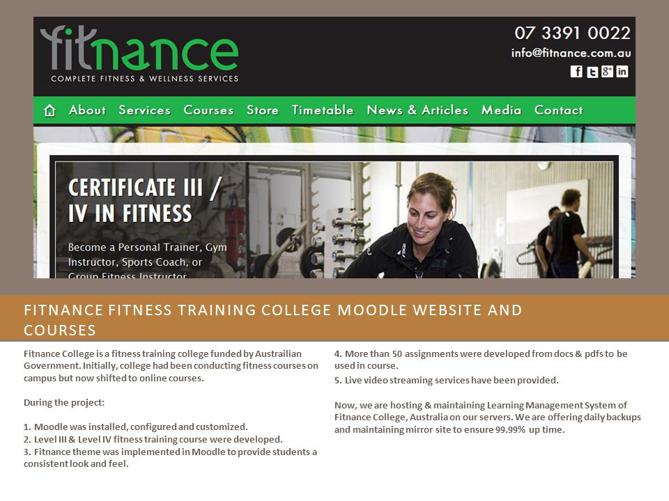 Fitnance Fitness Training College Moodle website and Courses