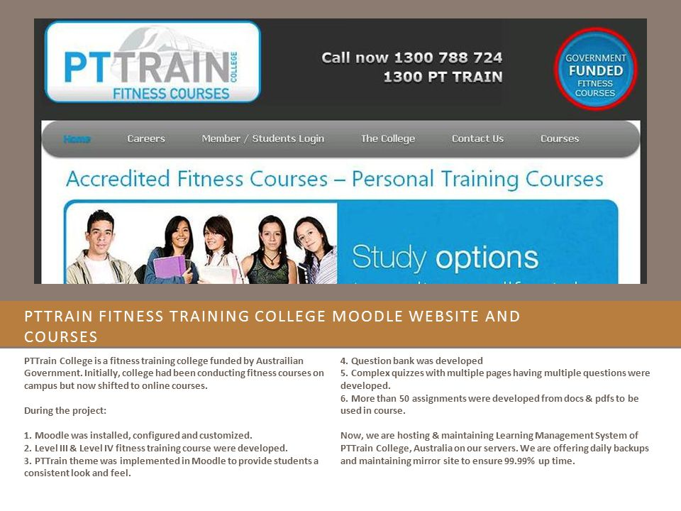 PTTrain Fitness Training College Moodle website and Courses