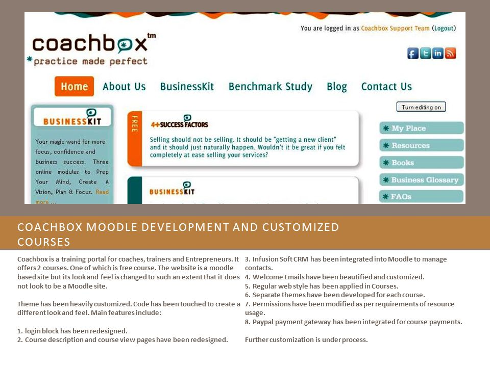 Coachbox Moodle Development and Customized Courses