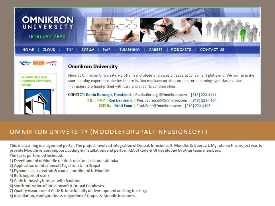 OmniKron University (Moodle+Drupal+Infusionsoft)