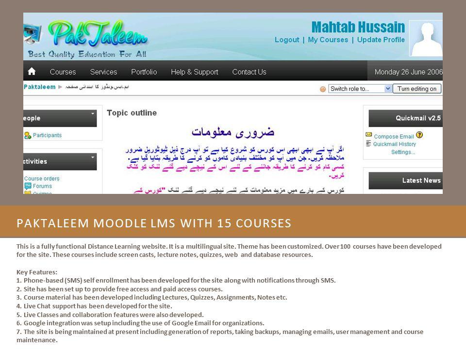 PakTaleem Moodle LMS with 15 Courses