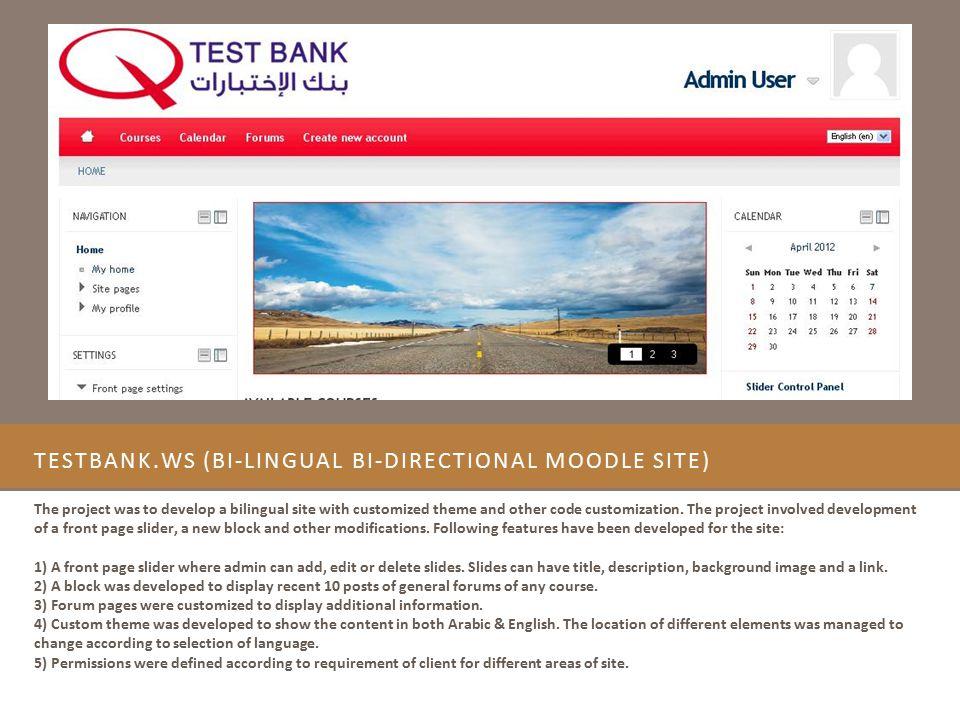 Testbank.ws (Bi-lingual Bi-directional Moodle Site)