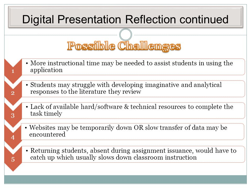 Digital Presentation Reflection continued